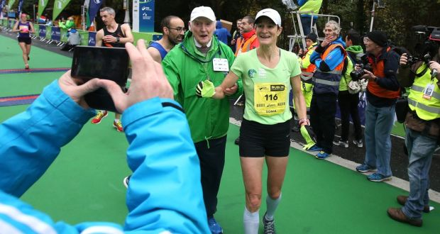 Sonia O'Sullivan enjoying the moment after completing the Dublin City Marathon in 2015.