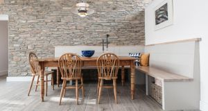 The kitchen table in the coachhouse