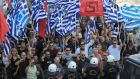 Supporters of far-right Golden Dawn party outside the appeals court in Athens, Greece in 2014. The neo-fascist group recorded 500,000 votes in last September's general election, seven per cent of the poll, returning 18 MPs. Photograph: Simela Pantzartzi/EPA