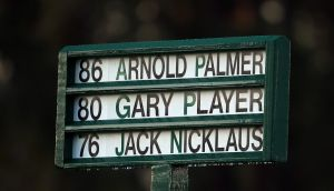 The names of honorary starters Jack Nicklaus, Arnold Palmer and Gary Player are displayed during the ceremonial tee off to start the first round of the 2016 Masters Tournament at Augusta National. Photograph: Andrew Redington/Getty Images