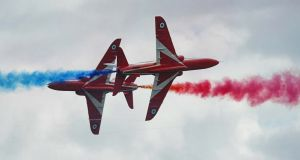 Close shave: The Red Arrows display team during a performance at the Salthill Air Show in Galway. Photograph: Joe O'Shaughnessy