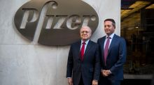Ian Read, chairman and chief executive officer of Pfizer, and Brent Saunders, president and chief executive officer of Allergan. This week's announcement was seen as being directed particularly at the Pfizer-Allergan deal. Photograph: Michael Nagle/Bloomberg