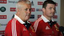 Brian O'Driscoll sits alongside coach Warren Gatland during a press conference in Perth in 2013 - during the Lions tour to Australia. Photograph: Getty Images