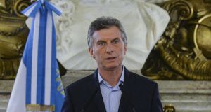 Argentina's president Mauricio Macri announces he will be submitting a public information access bill to Congress and denies involvement in the Panama Papers leak following a request by a federal prosecutor to open an investigation on his connection with offshore companies. Photograph: Reuters/Argentine Presidency