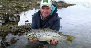 Corrib angler Larry McCarthy with his 2.7kg trout on duckfly