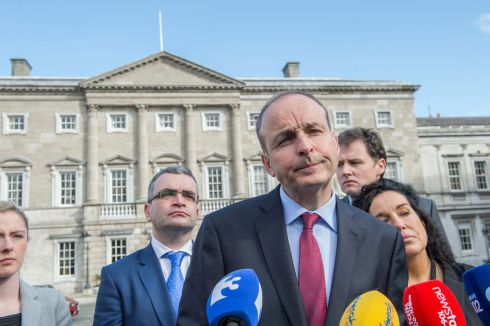 THURSDAY: Fianna Fail leader Micheal Martin at the Dail after his party rejected Fine Gael's  proposal for government.  With him were Lisa Chambers left, Dara Calleary,  Charlie McConalogue Margaret Murphy O'Mahony and Mary Butler.  Photograph: Brenda Fitzsimons / The Irish Times