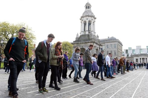 TUESDAY: taking part in the Student's Union Privilege Walk , at the Front Square in Trinity College Dublin.    Photograph: Eric Luke / The Irish Times