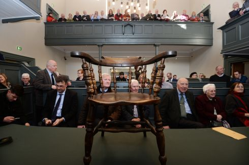 TUESDAY:  The witness chair at Kilmainham Gaol Courthouse where  Minister of  State Simon  Harris  met volunteers who by their work saved the Gaol from dereliction in the  1960s. Photograph: Cyril Byrne / The Irish Times