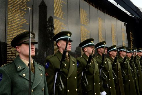 SUNDAY: Members of the 1st Battalion , Galway  at Glasnevin Cemetery where an Interfaith Service was held at the Remembrance Wall, to honour all the men, women and children who died during the 1916 Rising.  Photograph: Cyril Byrne / The Irish Times