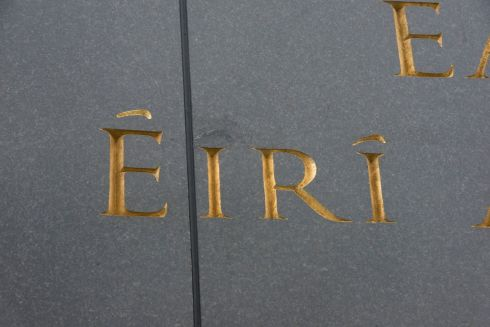 FRIDAY: Detail showing typo corrected on the Remembrance Wall at Glasnevin Cemetery.   Brenda Fitzsimons / THE IRISH TIMES