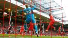 Divock Origi scored twice as Liverpool eased past Stoke at Anfield. Photograph: Reuters