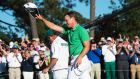 England's Danny Willett celebrates on the 18th green after winning the 80th playing of the US Masters at Augusta National. Photo: Jim Watson/Getty Images