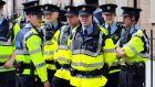 Members of the Garda outside the Dáil. Photograph:  Nick Bradshaw