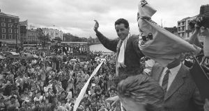 Cyclist Stephen Roche's triumphant homecoming to Ireland in 1987 after winning the Tour De France. His victory sparked a new wave of interest in cycling.