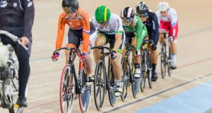Shannon McCurley, in the green cycling gear, at the UCI Track Cycling World Championships 2016  in London