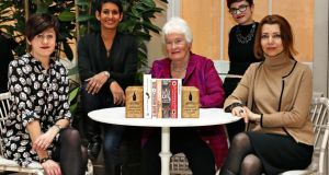 The Baileys Women's Prize for Fiction announces its 2016 shortlist as chosen by this year's judging panel (from left): Tracey Thorn,  Naga Munchetty, Margaret Mountford (chair), Elif Shafak and Laurie Penny. The prize celebrates excellence, originality and accessibility in writing by women