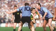 Dublin's Barney Rock tackles Kerry's Tom Spillane in the 1987 National Football League final: the Dubs beat a much-fancied Kingdom team. Photograph: Billy Stickland/Inpho