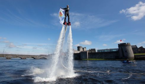 FLY  BOY: Limerick will become a mecca for families, foodies, fun runners and watersport enthusiasts during the May Bank Holiday weekend for Riverfest 2016, the city's hugely popular summer festival. Here Ken O'Connell, Riverfest flyboarder takes to the River Shannon to give spectators a glimpse of what to expect. Photograph: Sean Curtin/FusionShooters.