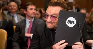 Bono  prepares to testify on Capitol Hill in Washington. He said the refugee crisis in Europe 'has moved from practical to existential.  Photograph: Andrew Harnik/AP