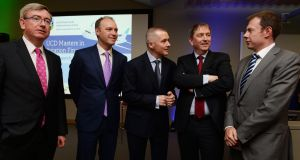 Willie Walsh, (centre)  with other figures from the aviation industry at the launch of the UCD Masters in Aviation Finance at the Smurfit Business School. Photograph: Cyril Byrne