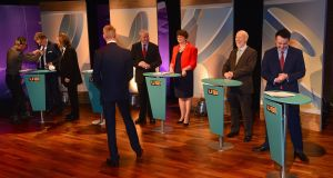 The  debate between Northern Ireland's five main parties – UUP's Mike Nesbitt, Sinn Féin's Martin McGuinness, DUP's Arlene Foster, Alliance Party's David Ford and the SDLP's Colum Eastwood. (UTV presenter Marc Mallett is facing away from the camera). Photograph: Arthur Allison