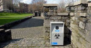 A bin at St Audoen's Park, for the disposal of sharp objects and hazardous waste. File photograph: Eric Luke/The Irish Times