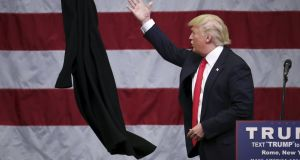 US Republican presidential candidate Donald Trump:  He leads in state primaries and caucuses   so far,  but the odds of the businessman reaching the majority of 1,237 pledged delegates to clinch the nomination in the first ballot at the national convention in July have declined. Photograph: Carlo Allegri/Reuters