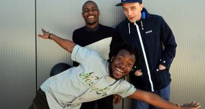 "Rusangano Family: God Knows, MynameisjOhn, and MuRli. ""It's hip-hop, but in the most liberated and basic sense."" Photograph: Eric Luke / The Irish Times"