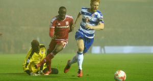 Paul McShane  in action for Reading in the game against Middlesbrough  at the Riverside Stadium. Photograph:   Gareth Copley/Getty Images