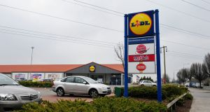 Lidl outlet in Dublin: Lidl has released a report by DKM economic consultants that says it purchased €539 million worth of Irish food last year, including €152 million for export. It says it employs 4,000 staff directly and indirectly supports another 5,700 jobs. Photograph: Aidan Crawley