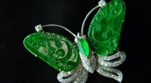 For auction John Weldon Auctioneers: a diamond- and jade-set butterfly brooch set in 18ct gold (€1,500-€2,500)