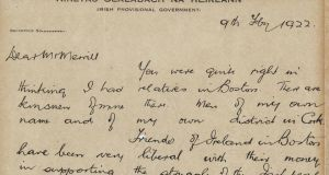 Michael Collins's letter to a 'Boston Globe' journalist in February 1922. It is written on the headed notepaper of the 'Provisional Government of Ireland'