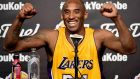 Kobe Bryant  during the post-game news conference after scoring 60 points in the final game of his NBA career. Photograph: Harry How/Getty Images