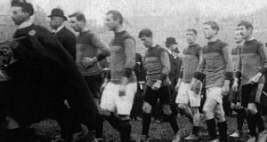The Kerry and Wexford teams parading before the 1913 All-Ireland senior football final. James Rossiter, who played in this final, fought with the Irish Guards and once wrote home that he felt more nervous before an All-Ireland final than before an Irish Guard attack on the Germans. Photograph: GAA Library and Archive