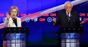 Hillary Clinton and Bernie Sanders. Their debate  was the shouty, testy affair you would expect from a debate in New  York. Photograph: Seth Wenig/AP