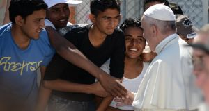 In pictures: Pope visits Lesbos refugee camp
