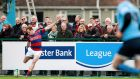 Clontarf's Rob Keogh kicks a conversion during their Ulster Bank League Division 1A game against UCD at Castle Avenue on Saturday. Photograph: Colm O'Neill/Inpho.