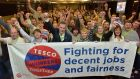 Tesco workers show solidarity at the Mandate Trade Union Conference in Galway. Photograph: Tommy Clancy