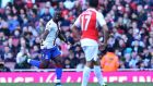Yannick Bolasie's goal earned Crystal palace a point at Arsenal. Photograph: Afp