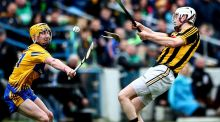 Clare's Colm Galvin and Lester Ryan of Kilkenny clash during Sunday's Allianz League semi-final. Photo: James Crombie/Inpho