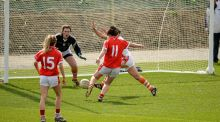 Ciara O'Sullivan, Cork, sees her shot saved by Armagh goalkeeper Katie Daly. Photo: Sportsfile