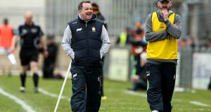 Clare manager Davy Fitzgerald celebrates their first goal of the game against Kilkenny. Photo: James Crombie/Inpho