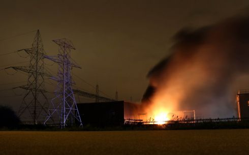 A blaze on Sunday night at an ESB sub-station in Clondalkin which cut off power to thousands of homes in that area of Dublin.  Photograph: Nick Bradshaw
