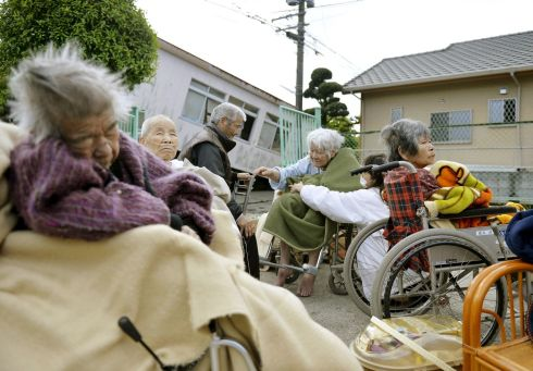 JAPAN EARTHQUAKE: Evacuees from a nursing home take shelter after the devastation caused by an earthquake in Mashiki town, Kumamoto prefecture, southern Japan. Photograph: Kyodo/Reuters