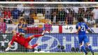 Andrea Pirlo dinks the ball down the middle as the momentum swings Italy's way in their Euro 2012 shootout with England. Photograph: Getty