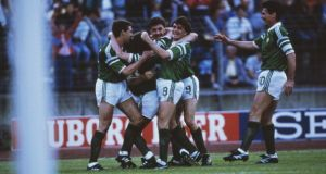 Ireland celebrate Ronnie Whelan's stunning winner against the USSR in 1988. Photograph: Getty