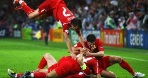 Nihat is mobbed by his Turkey teammates after his winner against the Czech Republic at Euro 2008. Photograph: Getty