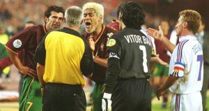 Abel Xavier protests after he gave away an extra time penalty in Portugal's Euro 2000 semi-final against France. Photograph: Getty