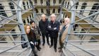 Marina Carr, Rachel Fehily, Hugo Hamilton, Joseph O'Connor and Thomas Kilroy, five of the eight writers of Signatories, at Kilmainham Gaol. Photograph: Marc O'Sullivan