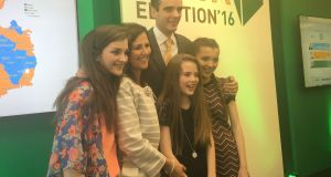 Newly elected IFA president Joe Healy celebrates with his family. Photograph: Eoin Burke-Kennedy